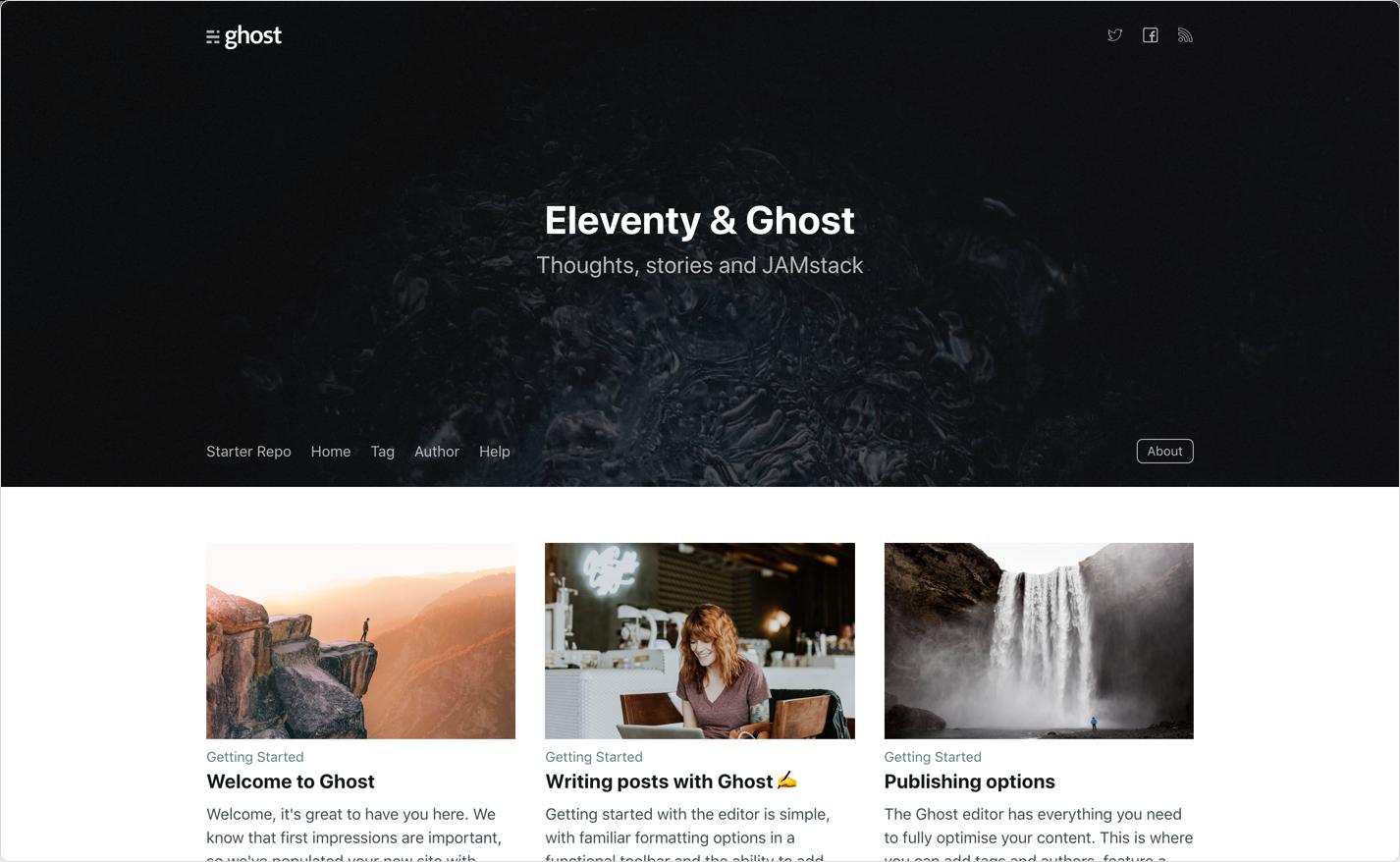 Screenshot of Eleventy & Ghost demo site
