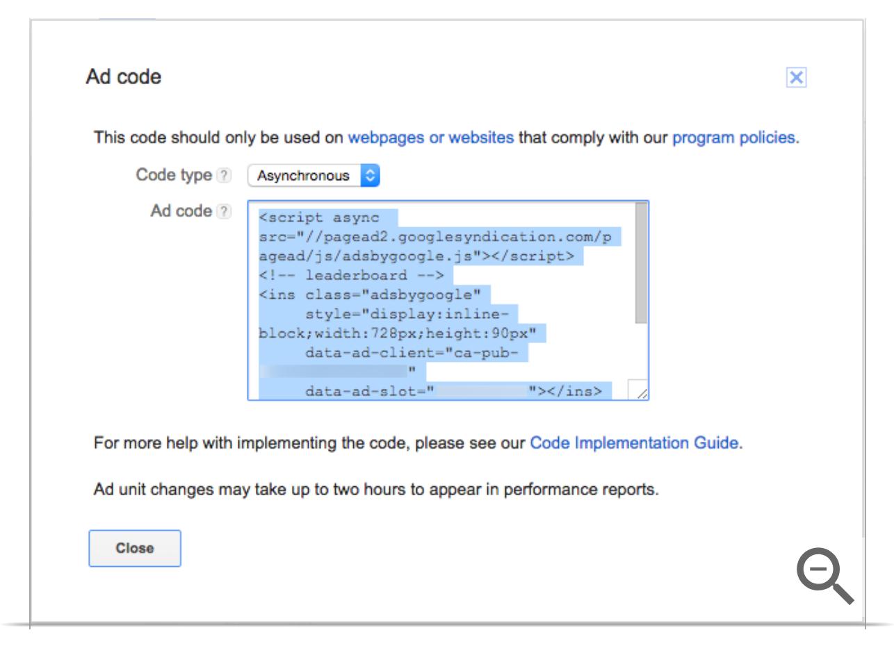 Add Google adsense code to wordpress