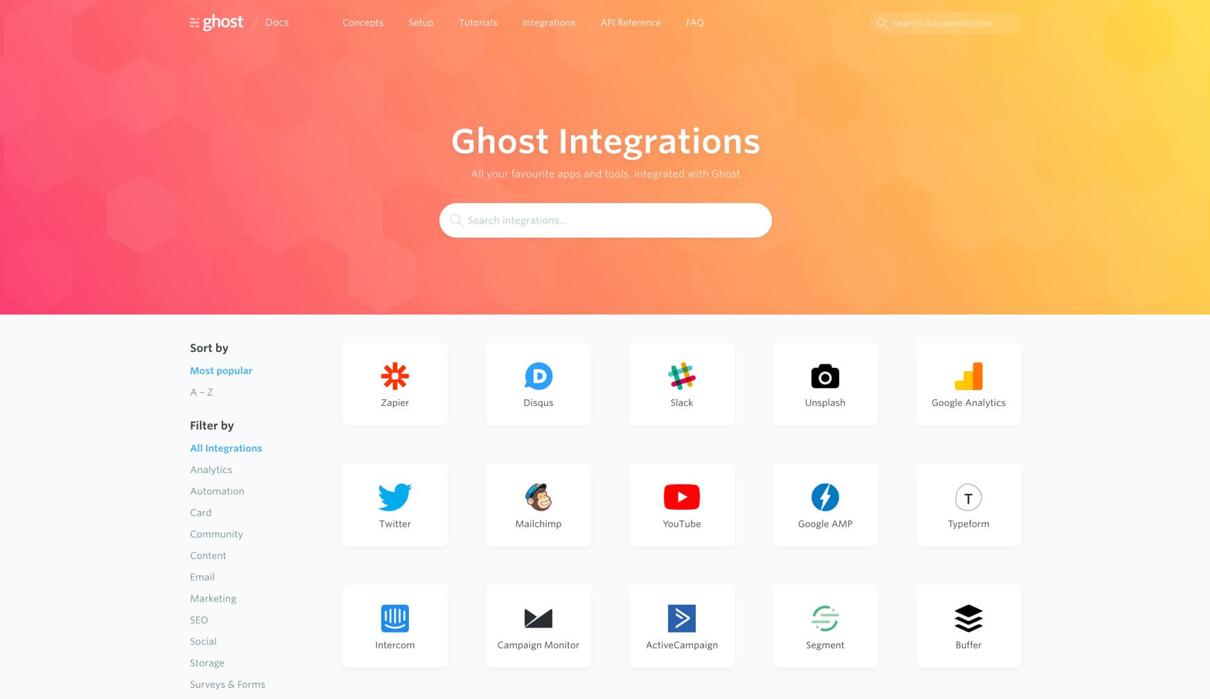 Ghost integrations