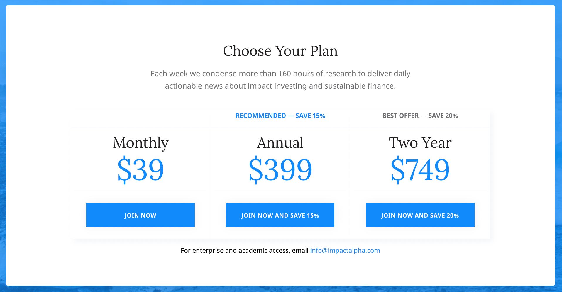 ImpactAlpha newsletter pricing
