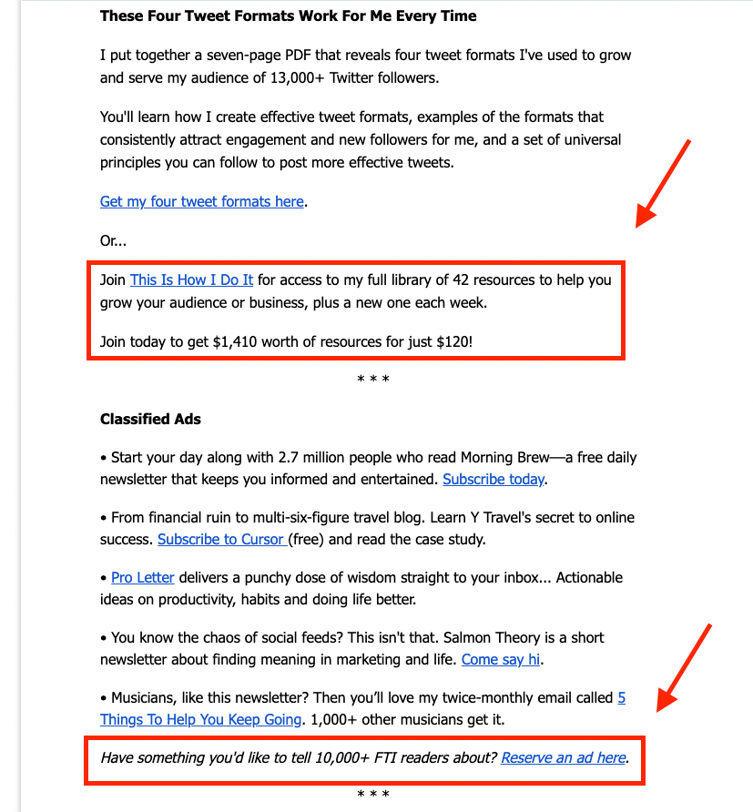 Fot the interested newsletter example