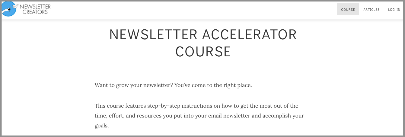 newsletter accelerator course by josh spector