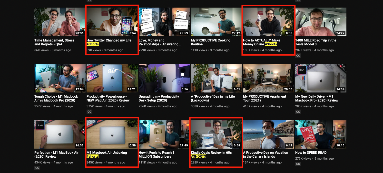 YouTube shorts content strategy example
