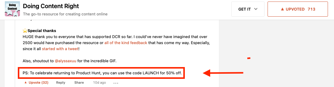 product hunt launch code