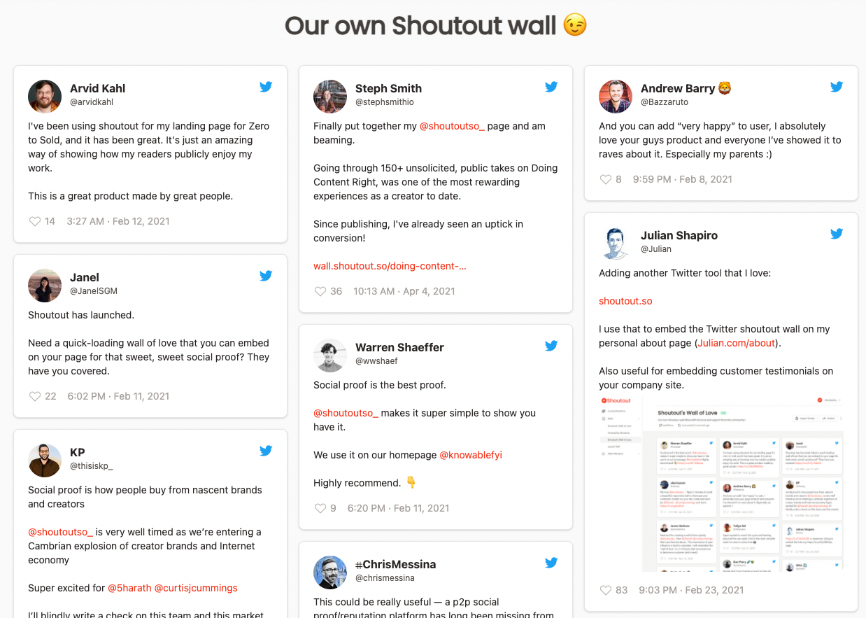 shoutout twitter wall example