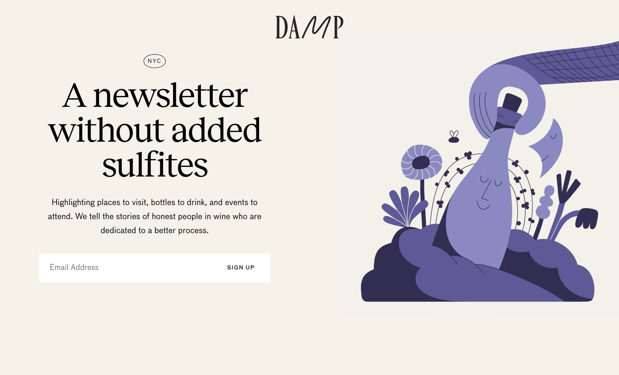 Damp newsletters sign up page