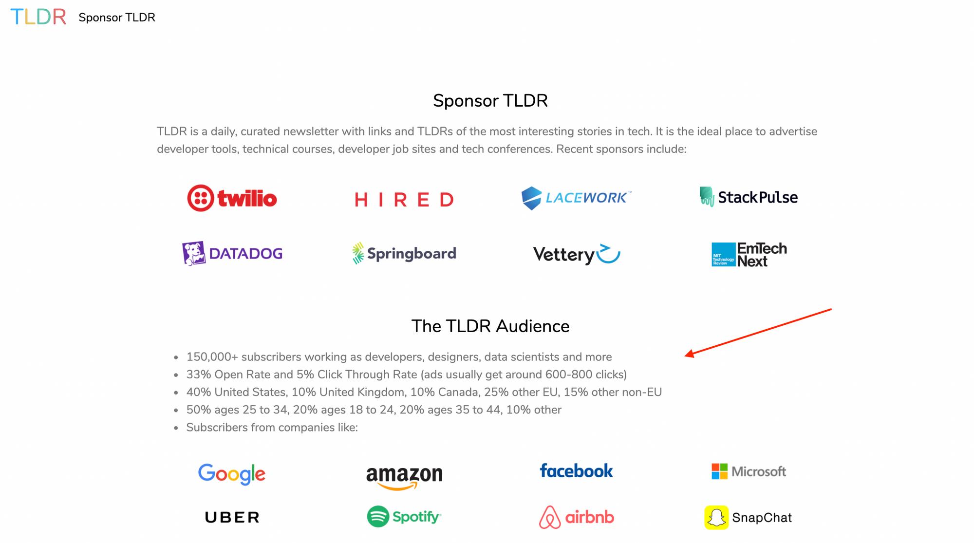 tldr newsletter sponsorships page