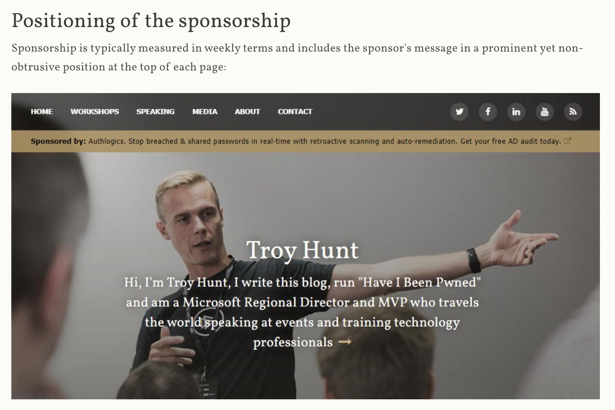 troy hunt sponsorship example