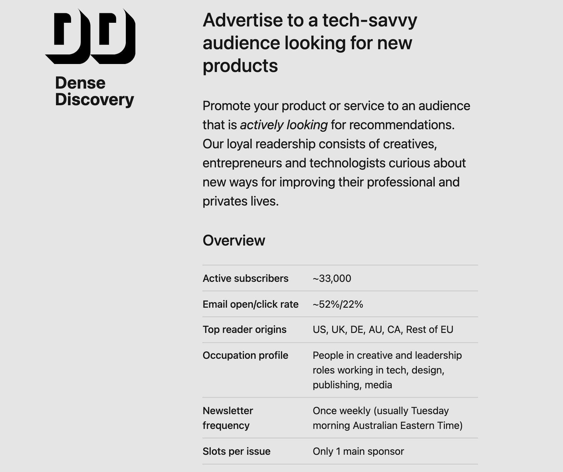 dense discover newsletter sponsorships