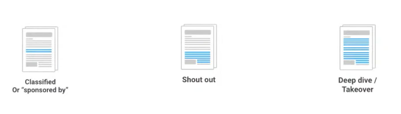 Three types of newsletter sponsorships