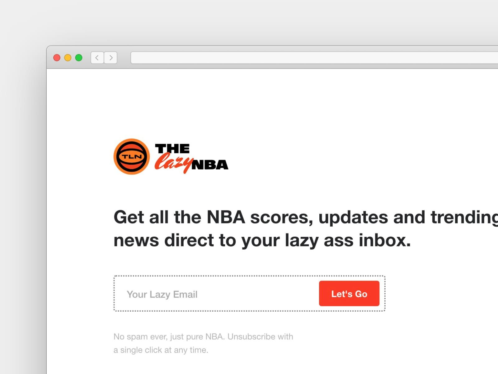 """The Lazy NBA being cheeky on their signup page: """"Your lazy ass inbox"""""""