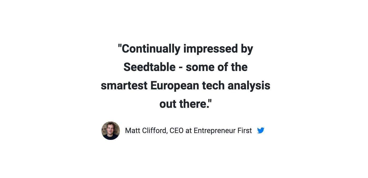 """""""Continually impressed by Seedtable - some of the smartest European tech analysis out there"""""""