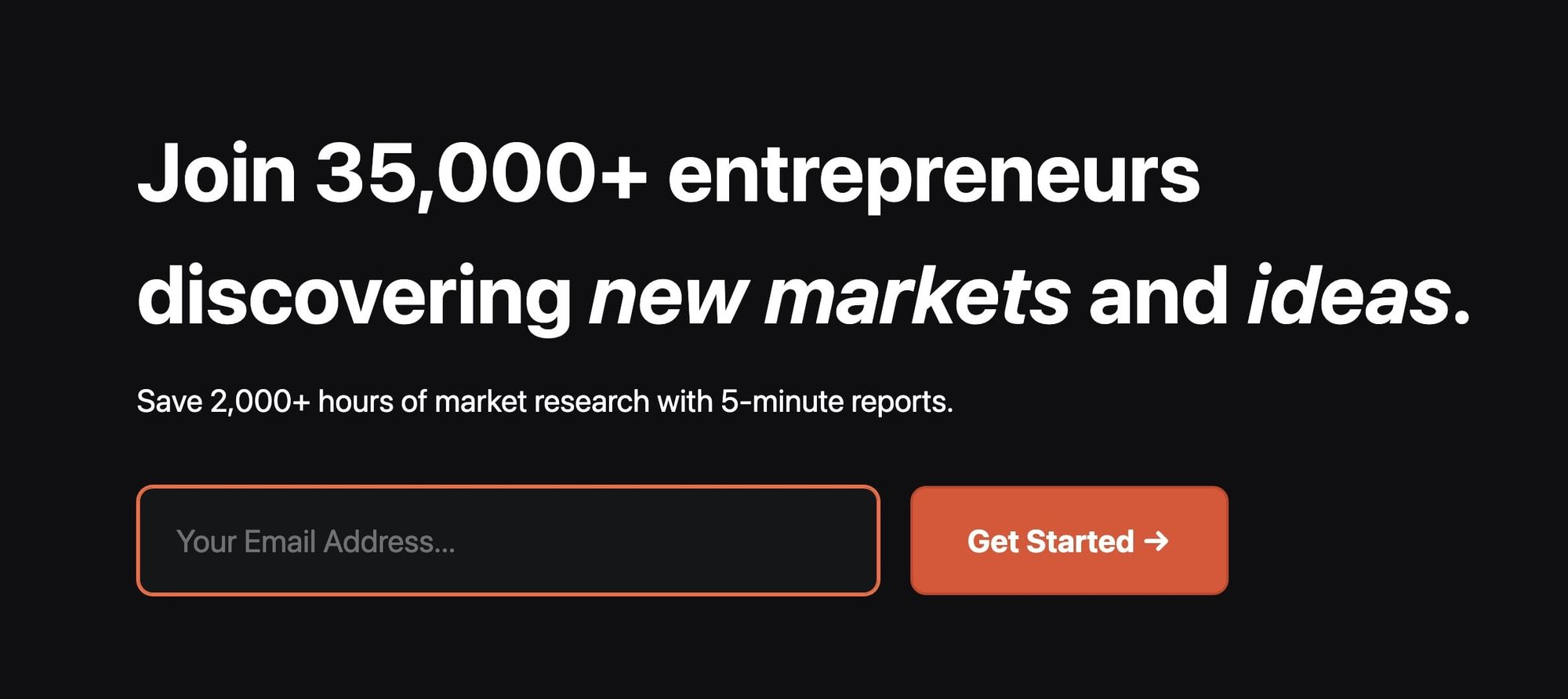 Trends.vc stating a subscription will save the reader 2,000+ hours of market research