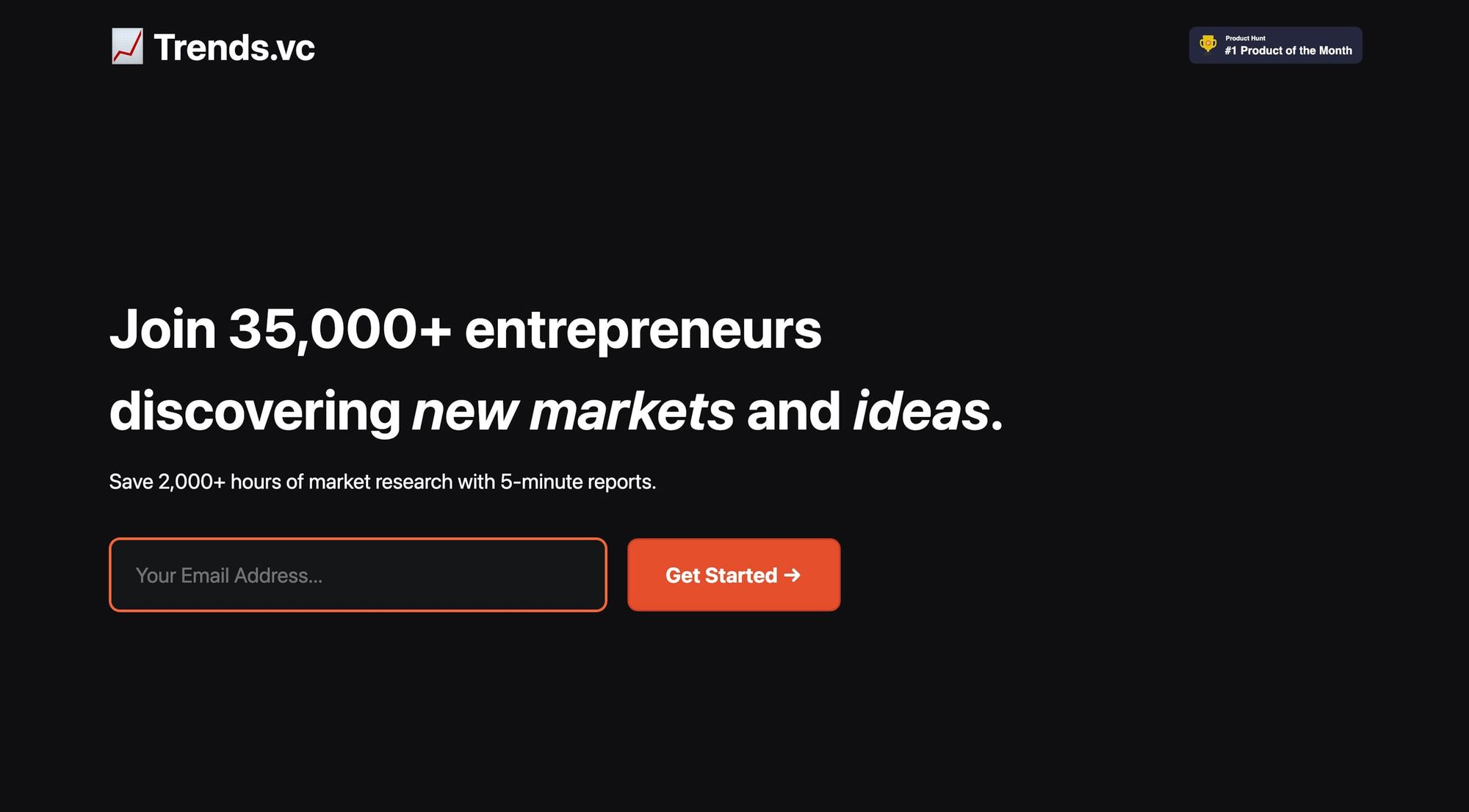Trends.vc social proof on the sign up page, featuring a product hunt award, and the number of subscribers