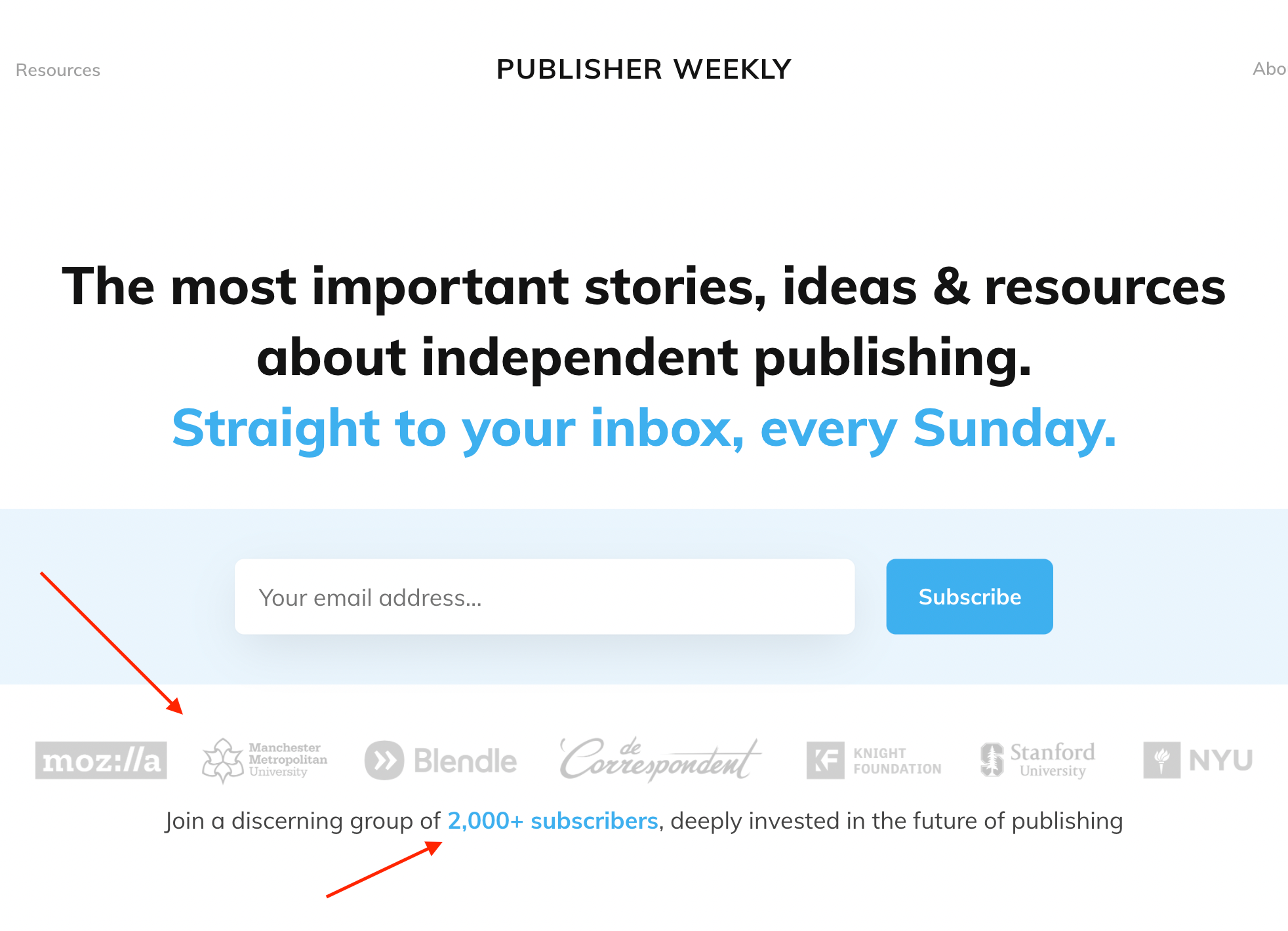 publisher weekly social proof example