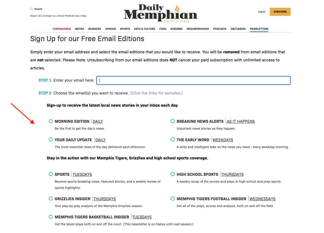 subscription page for daily memphian newsletter