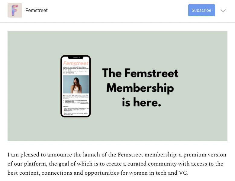 femstreet signup screenshot