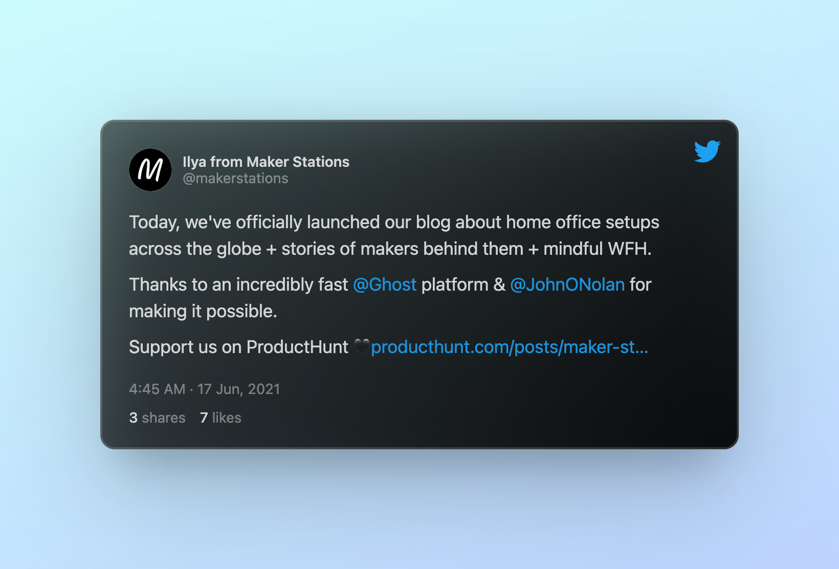 Tweet by Ilya from Maker Stations